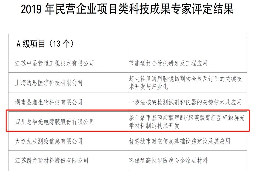 喜訊龍華特種塑膠屏材技(ji)術(shu)被評為2019年(nian)度(du)全國民營企業A級科技(ji)成果