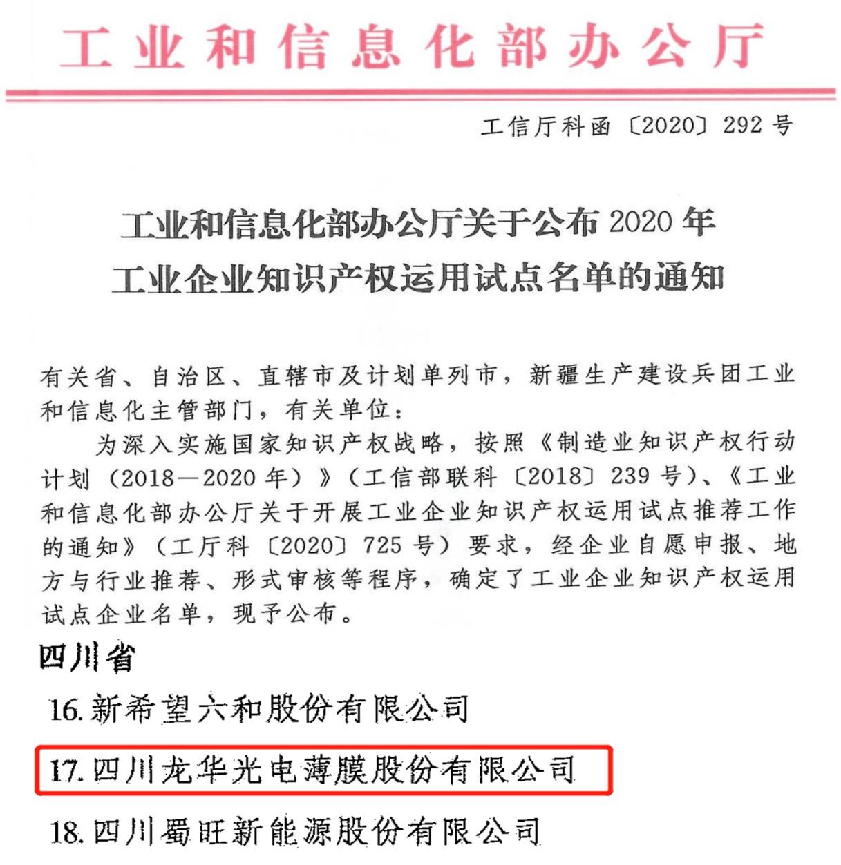 龍華薄膜入選(xuan)國(guo)家工業企業知識產權運用試(shi)點企業